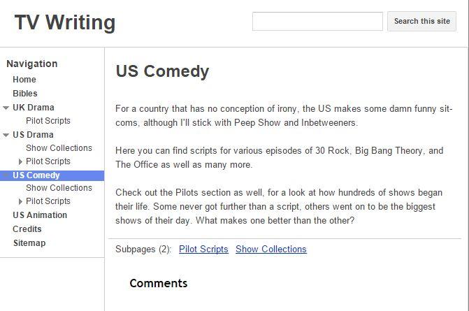 TV Writing Website